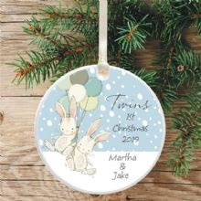 Twins' 1st Christmas Ceramic Xmas Tree Decoration - Cute Bunnies and Balloons Design